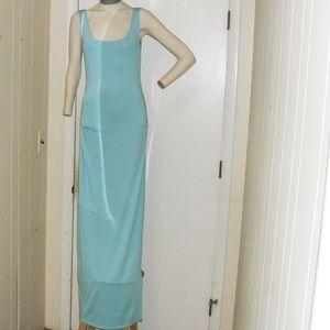 NWOT Blue Maxi Dress Tank Top Side Slit Sz Sm